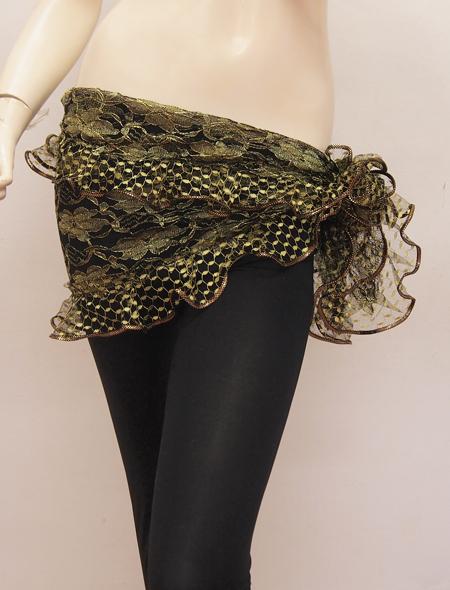 グリーンフリルヒップスカーフ ミラーナベリーダンス衣装2