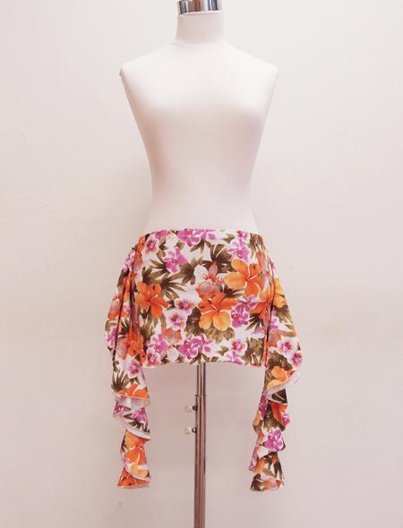 オレンジピンク花柄ヒップスカーフ ミラーナベリーダンス衣装