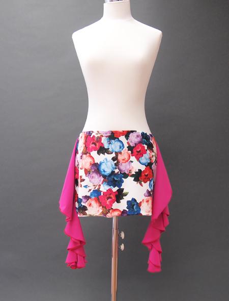 白花ピンクフリルヒップスカーフ ミラーナベリーダンス衣装