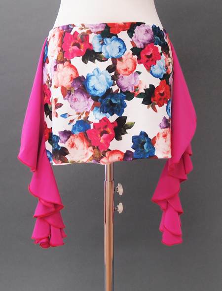 白花ピンクフリルヒップスカーフ2 ミラーナベリーダンス衣装