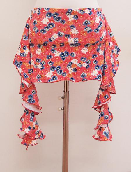 ピンク青白花柄ヒップスカーフ ミラーナベリーダンス衣装2