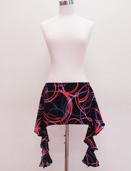 黒赤同色ヒップスカーフ ミラーナベリーダンス衣装