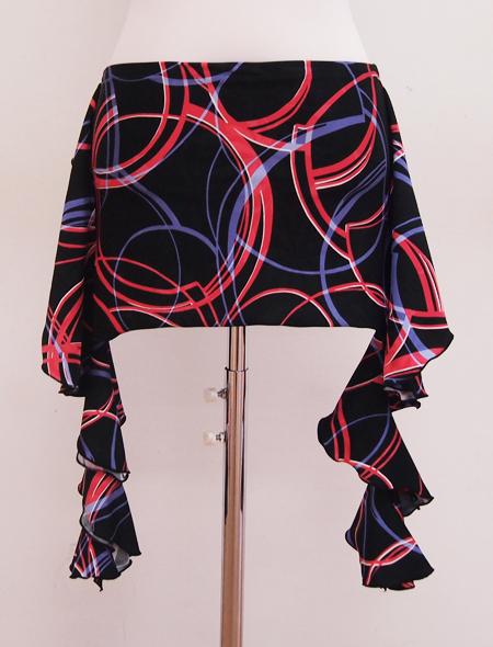 黒赤同色ヒップスカーフ ミラーナベリーダンス衣装2