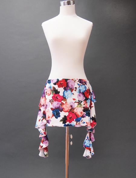 白花ばらヒップスカーフ ミラーナベリーダンス衣装