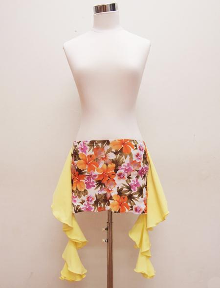 黄色フリル花柄ヒップスカーフ ミラーナベリーダンス衣装