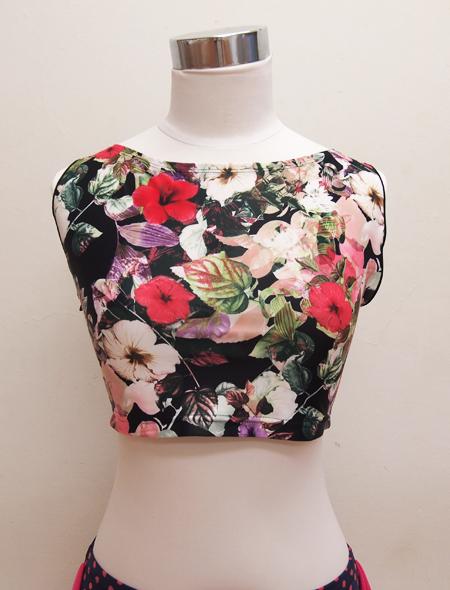 黒花ノースリーブ2 ミラーナベリーダンス衣装