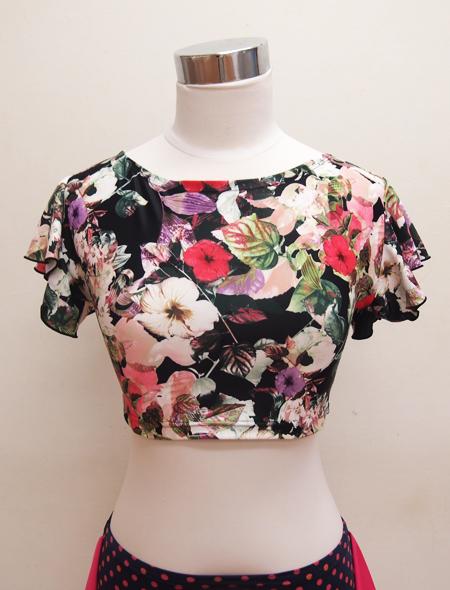 黒花柄フリルトップス2 ミラーナベリーダンス衣装