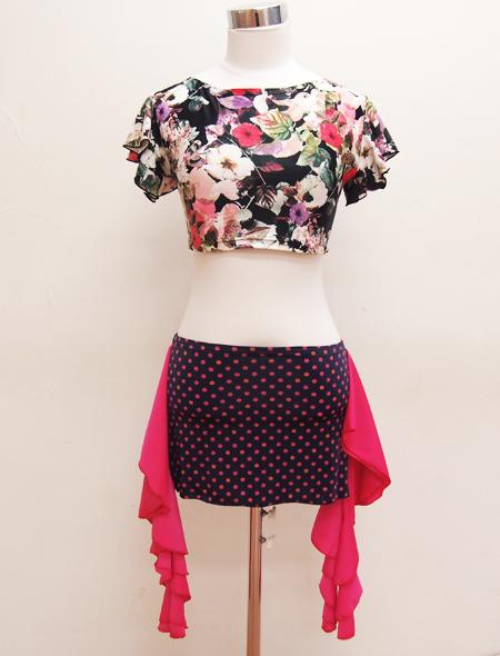 黒花柄フリルトップス3 ミラーナベリーダンス衣装