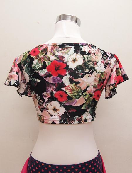 黒花柄フリルトップス4 ミラーナベリーダンス衣装