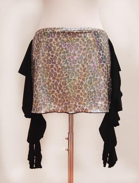 黒ヒョウラメヒップスカーフ2 ミラーナベリーダンス衣装