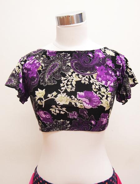 黒に紫ペイズリーのトップス2 ミラーナベリーダンス衣装
