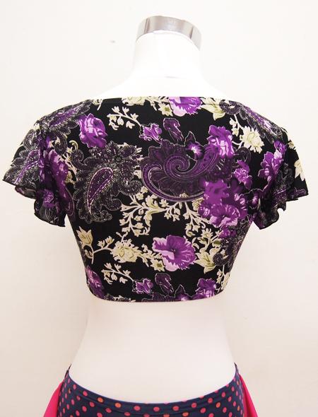 黒に紫ペイズリーのトップス4 ミラーナベリーダンス衣装