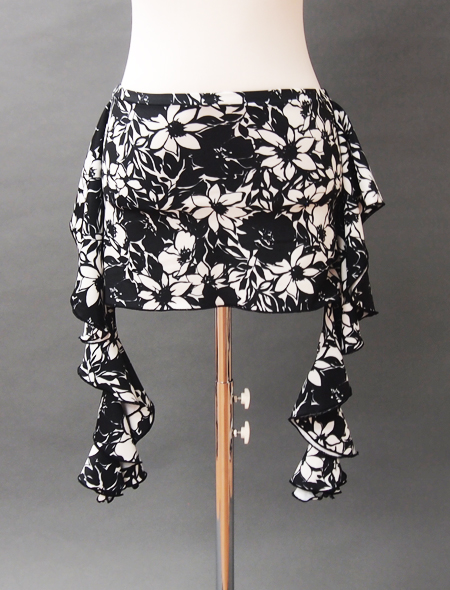モノトーン花柄ヒップスカーフ2 ミラーナベリーダンス衣装