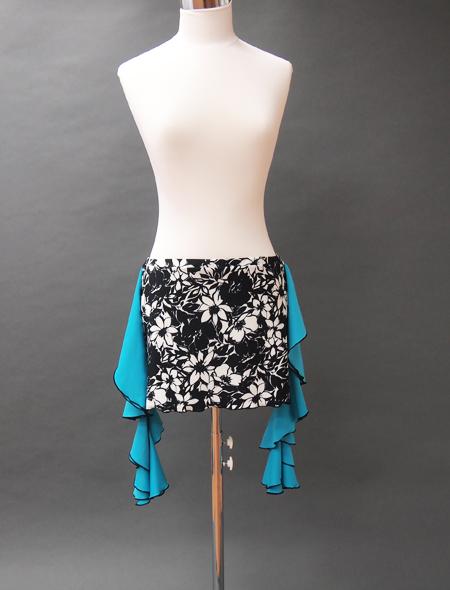 モノトーン花柄青フリルヒップスカーフ ミラーナベリーダンス衣装