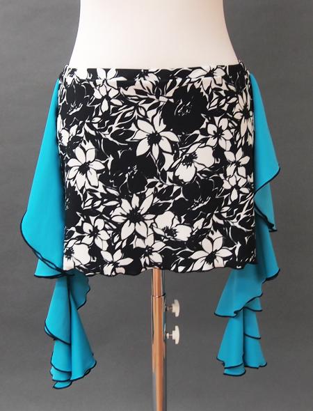 モノトーン花柄青フリルヒップスカーフ ミラーナベリーダンス衣装2
