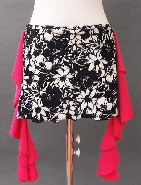 モノトーン花柄ピンクフリルヒップスカーフ 2 ミラーナベリーダンス衣装