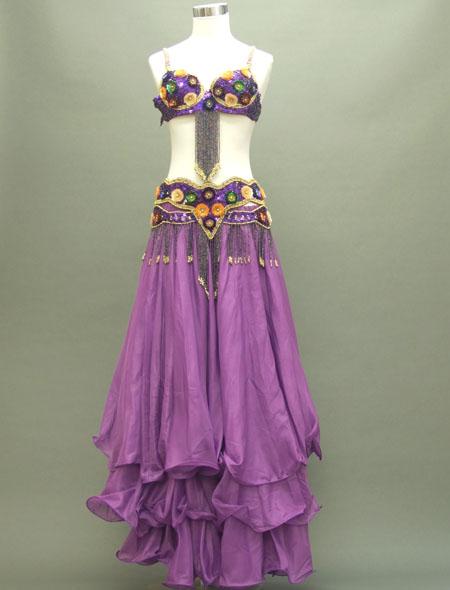 紫のフレアースカートが特徴!格安ベリーダンス衣装 ミラーナ