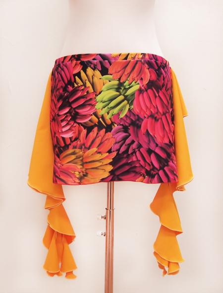 オレンジフリルバナナヒップスカーフ2 ミラーナベリーダンス衣装