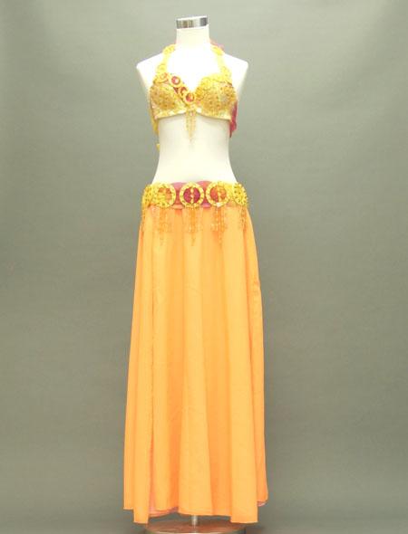 オレンジシフォンのリボンが可愛い格安ベリーダンス衣装 ミラーナ
