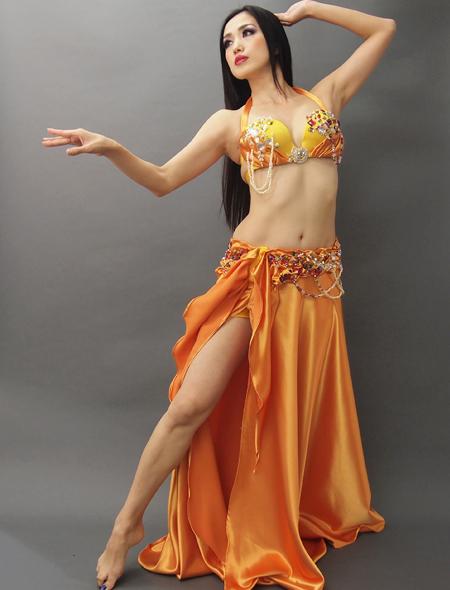 オレンジゴールドベリーダンス衣装1 ミラーナ