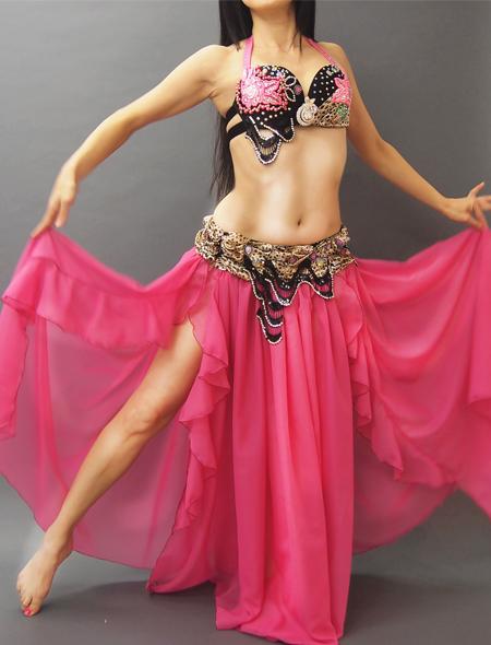 ピンクx黒xヒョウ柄 ベリーダンス衣装全身 MiLLANA