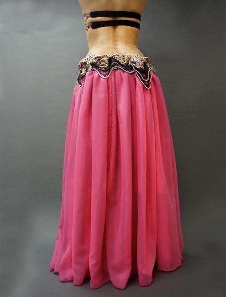 ピンクx黒xヒョウ柄 スカート全体 MiLLANAベリーダンス衣装