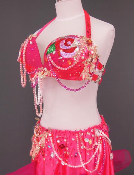 ピンク薔薇ベリーダンス衣装 ミラーナ