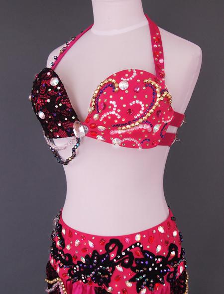 ピンクブラックレースベリーダンス衣装4 ミラーナ