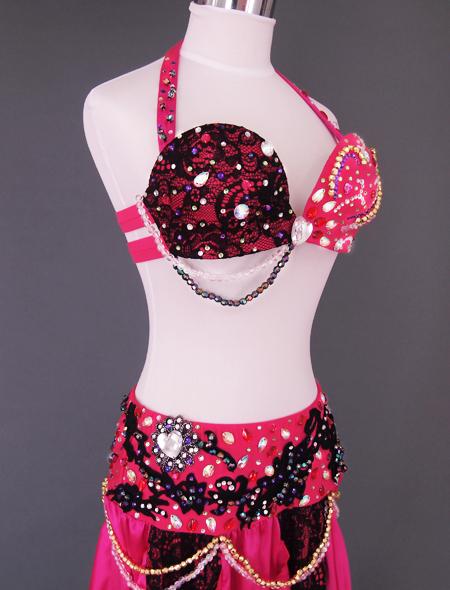 ピンクブラックレースベリーダンス衣装2 ミラーナ