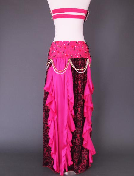 ピンクブラックレースベリーダンス衣装8 ミラーナ