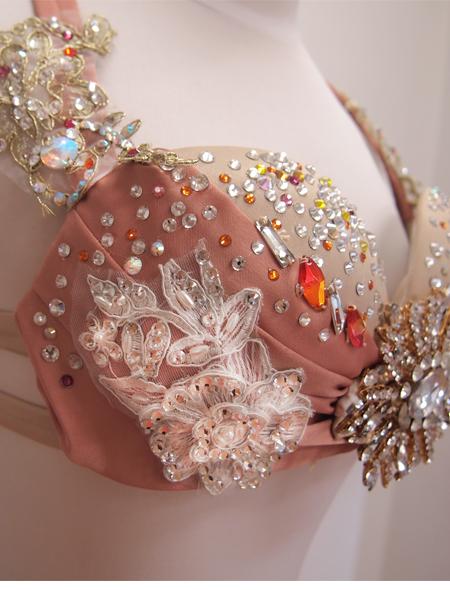 ピンクフリルコスチュー2  ミラーナベリーダンス衣装