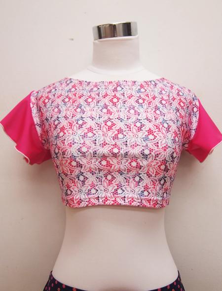 ピンクフリル花柄トップス ミラーナベリーダンス衣装