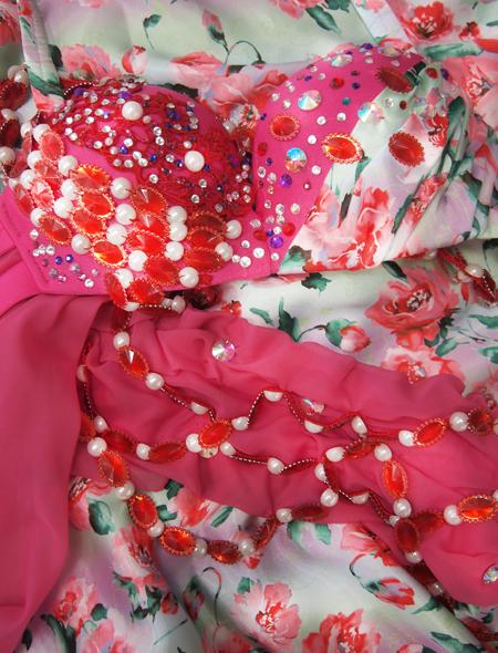 ピンク花柄衣装5 ミラーナベリーダンス衣装