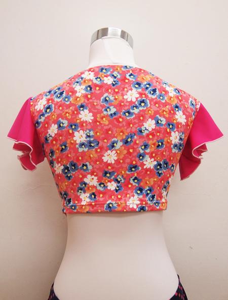 ピンク小花柄トップス ミラーナベリーダンス衣装3
