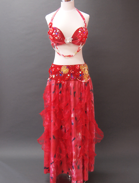 赤花ベリーダンス衣装1 ミラーナ