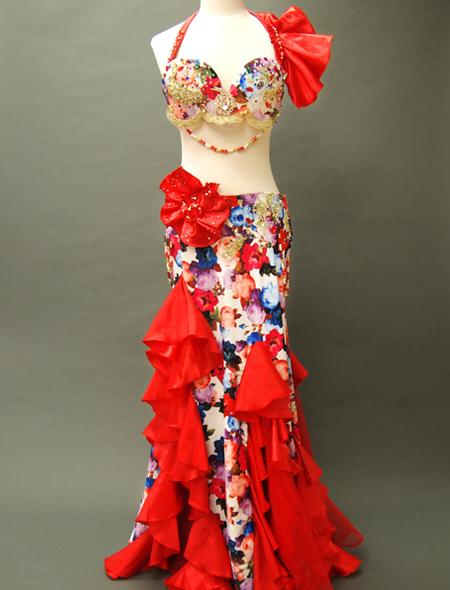 赤花柄コスチューム ミラーナベリーダンス衣装
