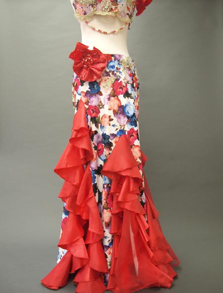 赤花柄コスチュー3 ミラーナベリーダンス衣装