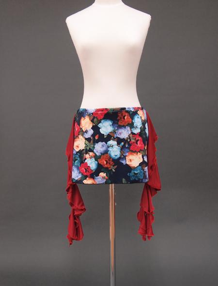 赤フリルネイビーローズヒップスカーフ1 ミラーナベリーダンス衣装