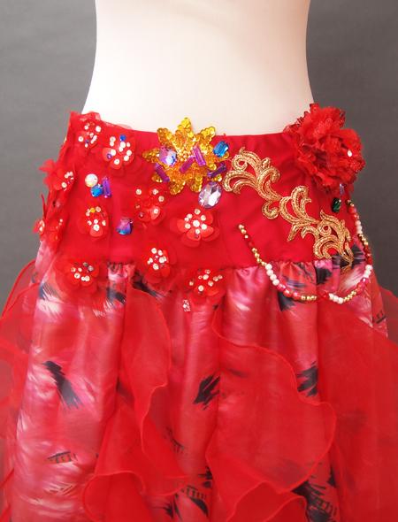 赤の花モチーフベリーダンス衣装3 MiLLANA