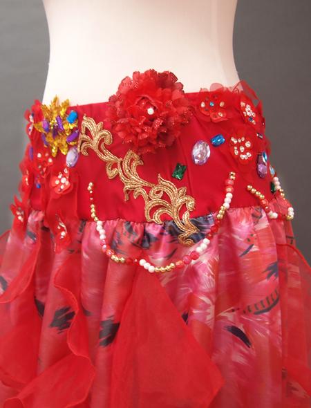 赤の花モチーフベリーダンス衣装5 MiLLANA