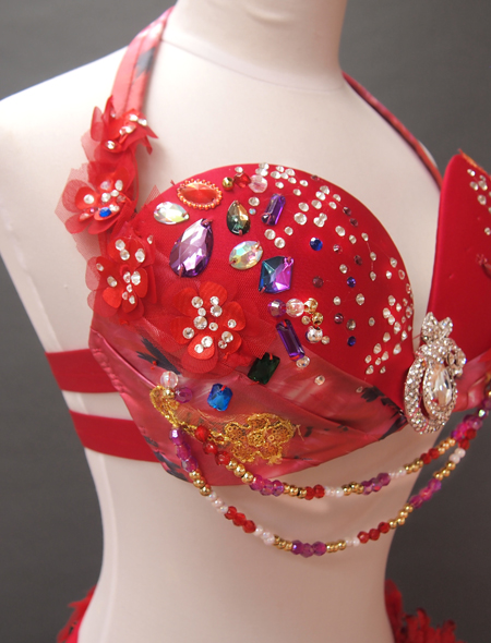 赤の花モチーフベリーダンス衣装6 MiLLANA