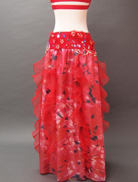 赤の花モチーフベリーダンス衣装7 MiLLANA