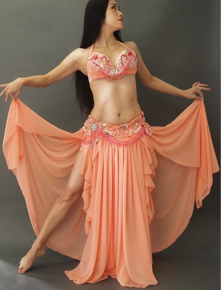 サーモンピンクの豪華なフレアーベリーダンス衣装1 ミラーナ