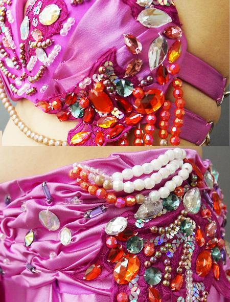 スモーキーピンクベリーダンス衣装 ミラーナ