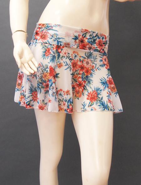 白地花柄スカート3 ミラーナベリーダンス衣装