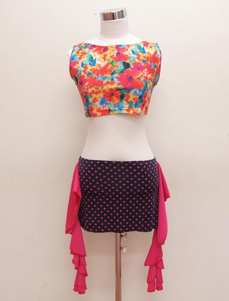 水彩画ノースリーブトップス3 ミラーナベリーダンス衣装