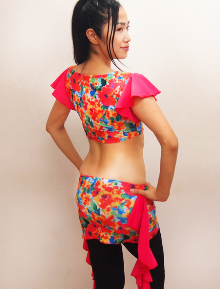 水彩画ピンクフリルトップス2 ミラーナベリーダンス衣装