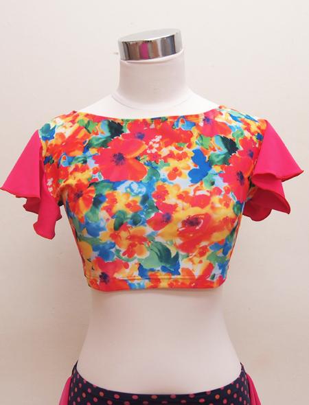 水彩画ピンクフリルトップス3 ミラーナベリーダンス衣装
