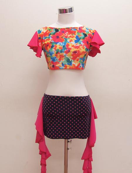 水彩画ピンクフリルトップス4 ミラーナベリーダンス衣装