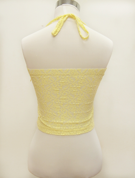 黄色ホルターネックウエア2 ミラーナベリーダンス衣装